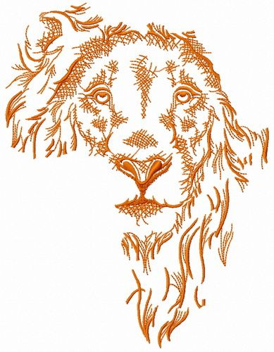 African lion sketch embroidery design