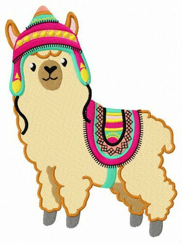 Alpaca with colorful hat and horsecloth embroidery design