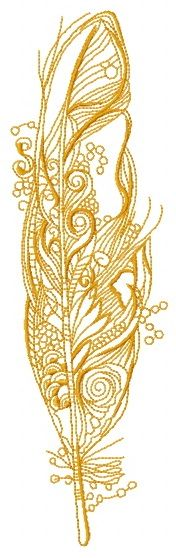 Amazing feather one color embroidery design