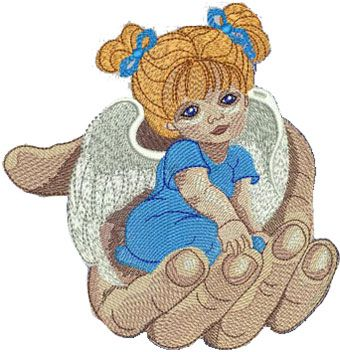 Angel in the palm embroidery design