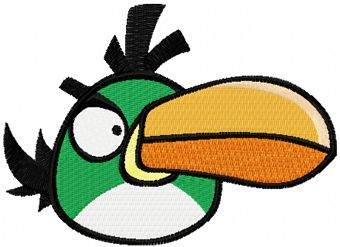 Angry birds green embroidery design
