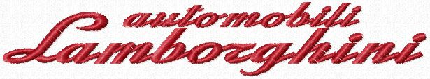Automobili Lamborghini script machine embroidery design