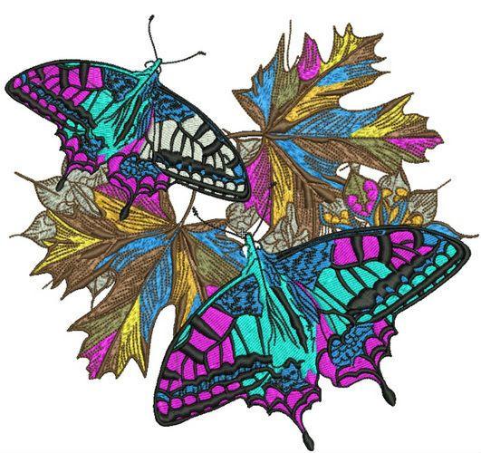 Autumn butterflies machine embroidery design 5