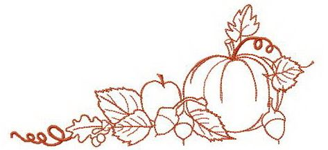 Fall sketch embroidery design