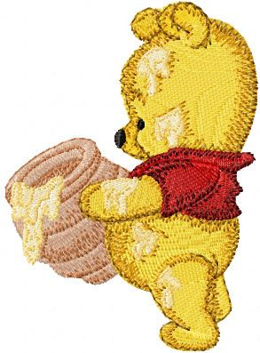 Baby Pooh with honey pot embroidery design