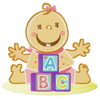Baby and cubes embroidery design