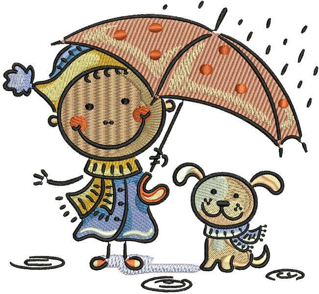 Boy and dog under rain machine embroidery design