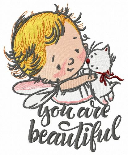 Baby cupid embroidery design 8