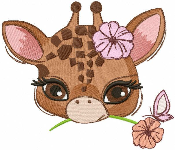 Baby giraffe with flower embroidery design