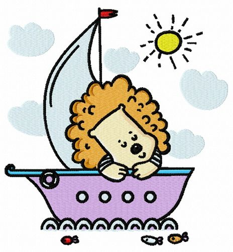 Baby lion sailing machine embroidery design