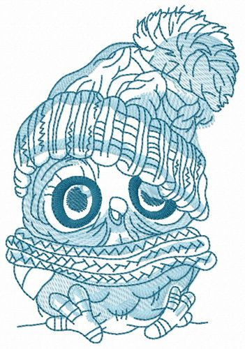 Baby owl embroidery design 4