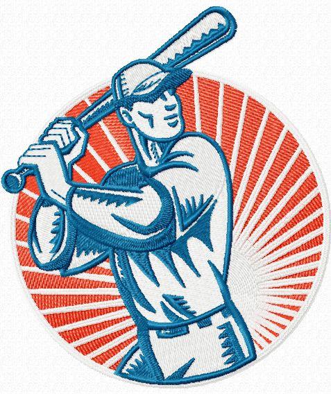 Baseball cool badge machine embroidery design