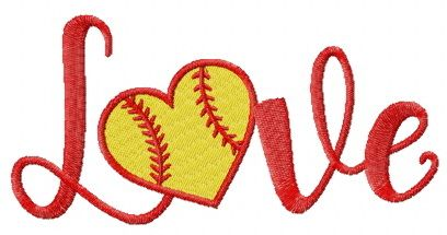 Baseball love embroidery design