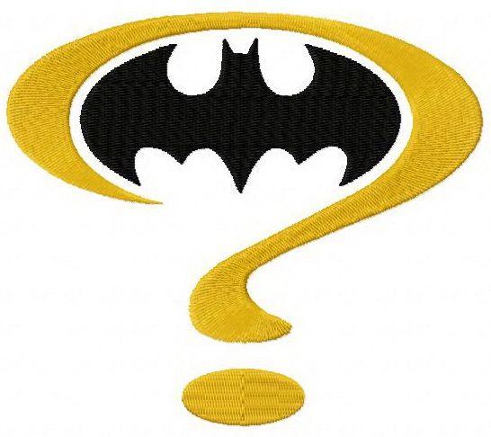 Batman question mark embroidery design