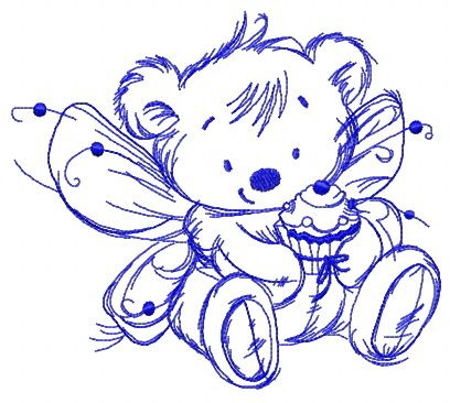 Bear fairy with cupcake one color embroidery design