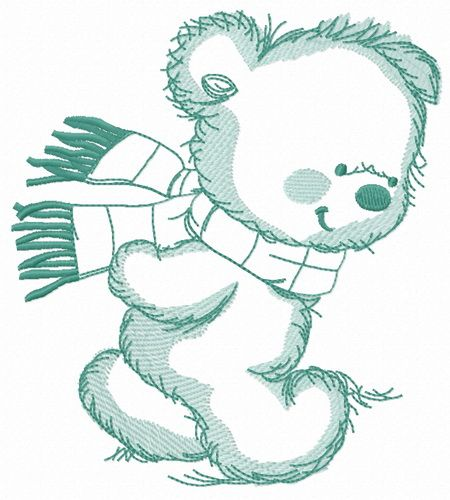 Bear in a warm striped scarf embroidery design 5