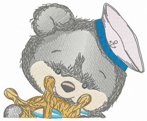 Bear the sailor embroidery design