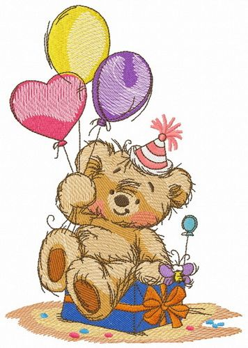 Bear's birthday embroidery design