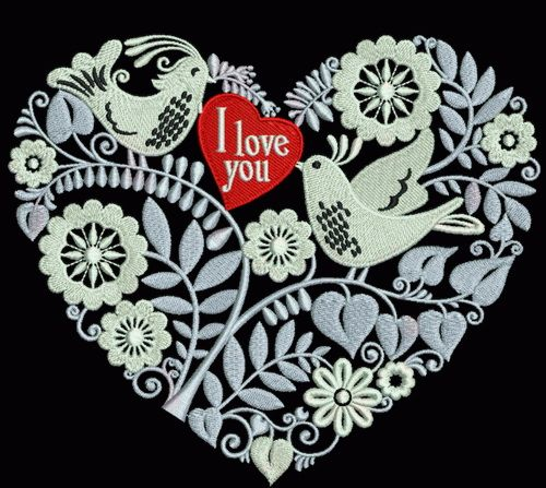 Birdie heart embroidery design
