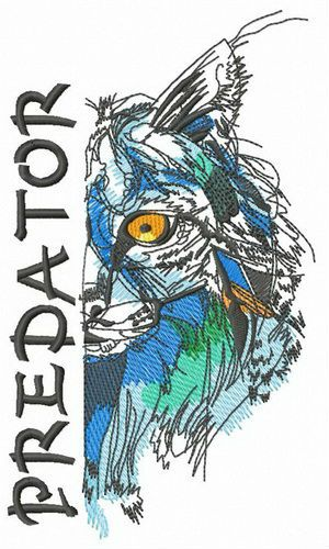 Bobcat predator embroidery design