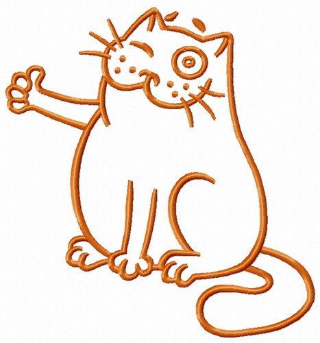 Bravo cat one color embroidery design