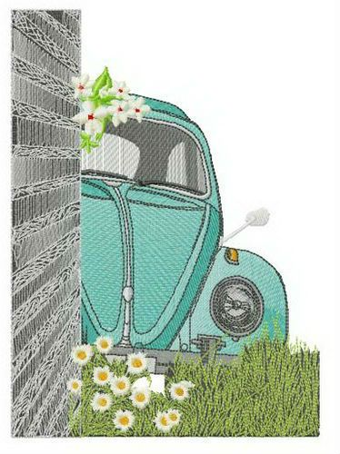 Bug hiding embroidery design