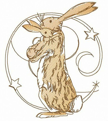 Bunnies hug embroidery design
