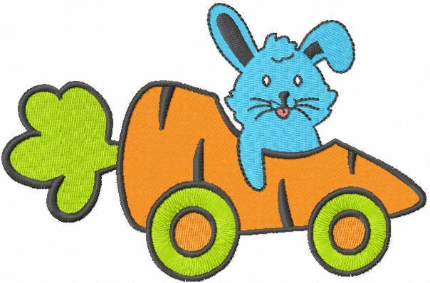 Bunny carrotmobil embroidery design