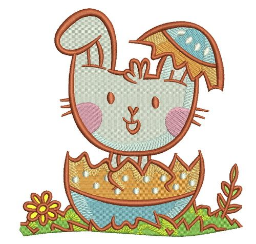 Bunny hiding in egg embroidery design