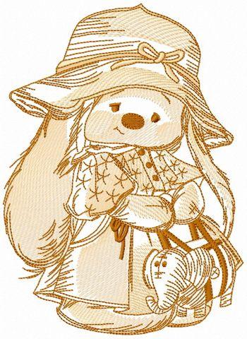 Bunny Mi in fashion coat embroidery design
