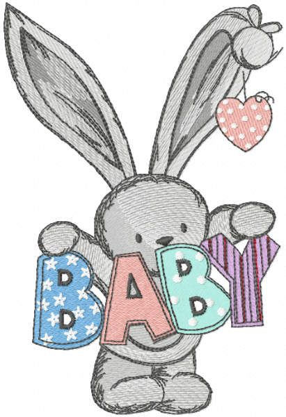 Bunny welcome baby embroidery design