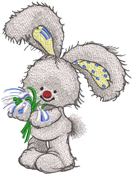 Bunny with snowdrops embroidery design