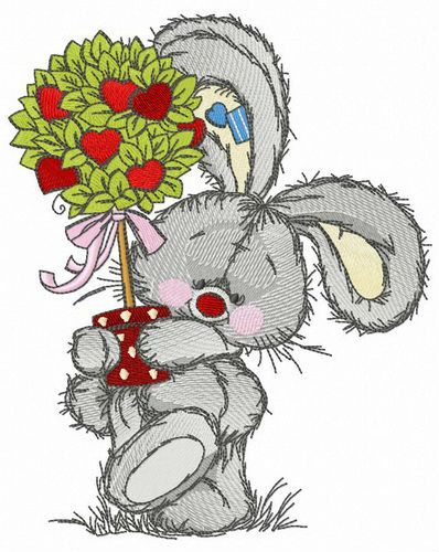 Bunny with Valentine tree embroidery design