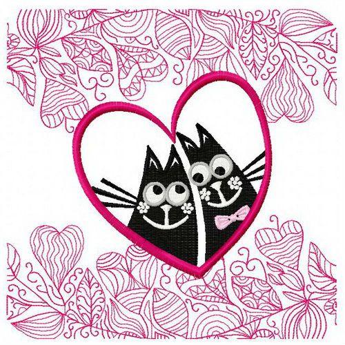 Cat's love embroidery design