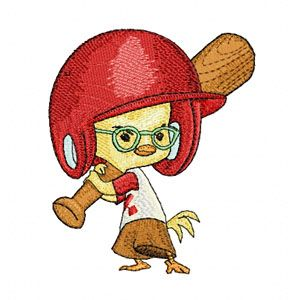 Little Chicken with baseball bat embroidery design