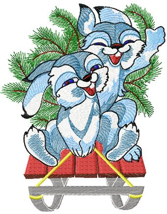 Christmas Bunnies free embroidery design