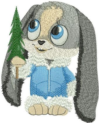 Christmas Bunny machine embroidery design