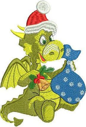 Christmas Dragon embroidery design