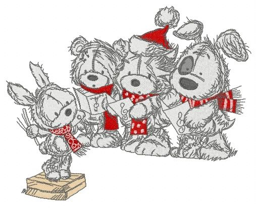Christmas songs embroidery design 2