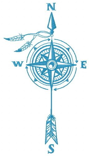 Compass and wind embroidery design
