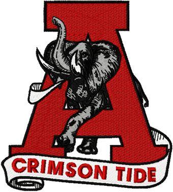 Alabama University Crimson Tide logo 4 machine embroidery design