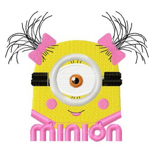 Cute Minion machine embroidery design 2