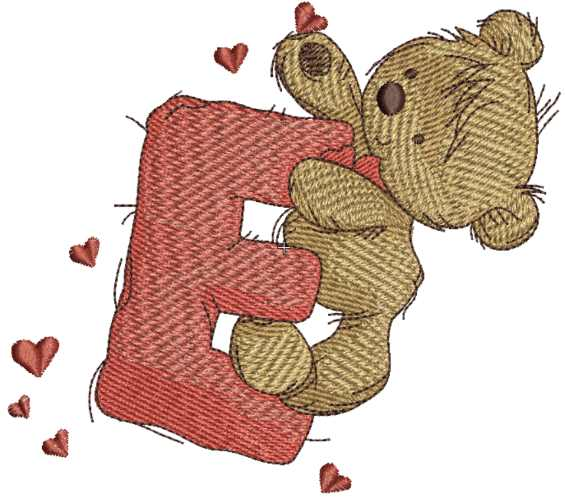 Teddy Bear With Letter E Embroidery Design