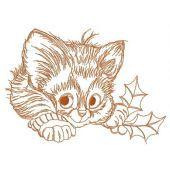 Adorable kitten embroidery design 4