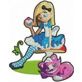 Alice with cupcake embroidery design