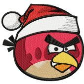 Angry birds Christmas logo machine embroidery design