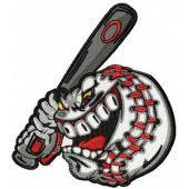 Angry baseball ball machine embroidery design