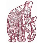 Cat and kitty cat sphynx 3 embroidery design