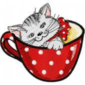 Cat in cup machine embroidery design 3
