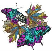 Autumn butterflies machine embroidery design 5